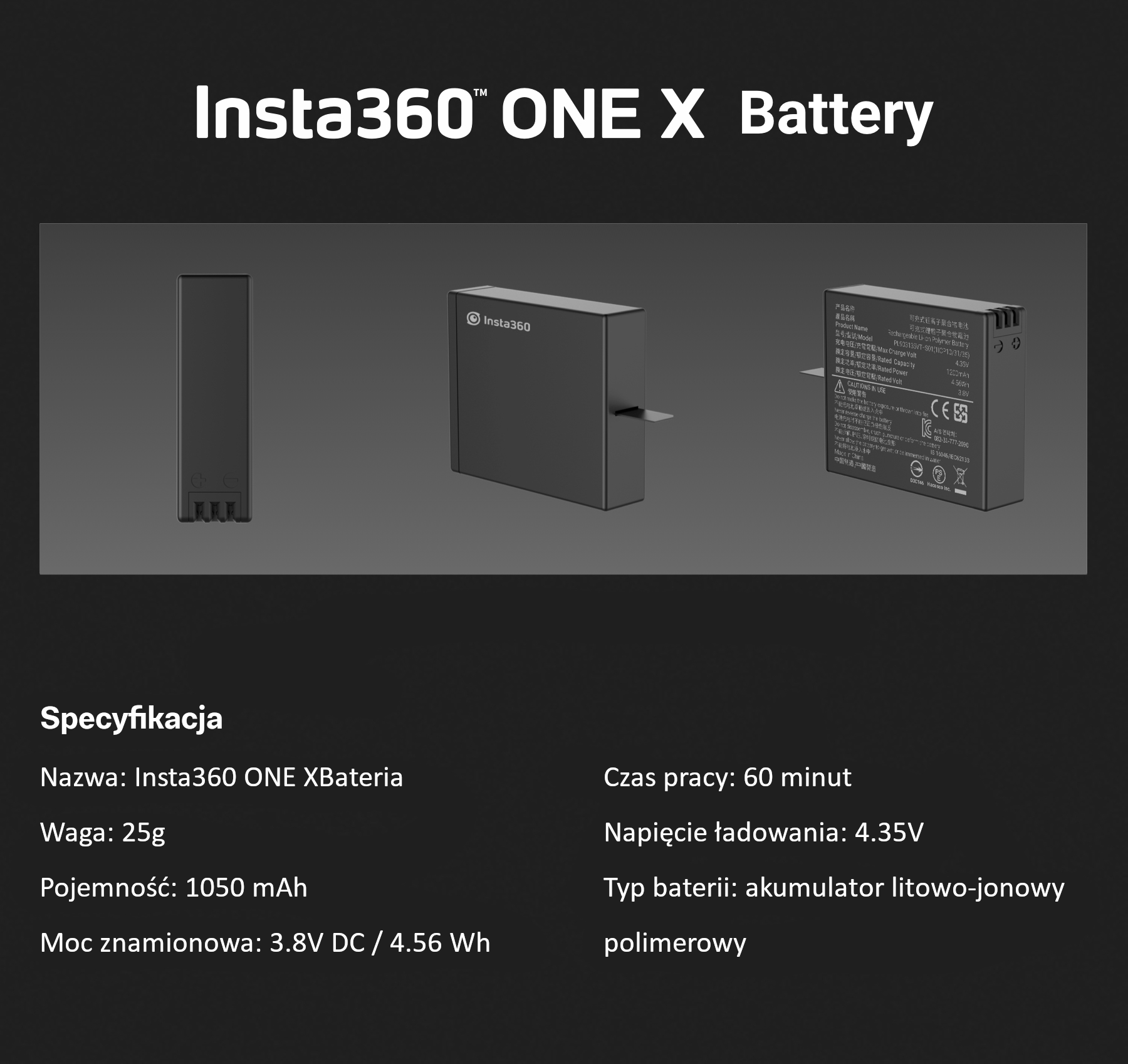 Insta360 ONE X opis bateria 4